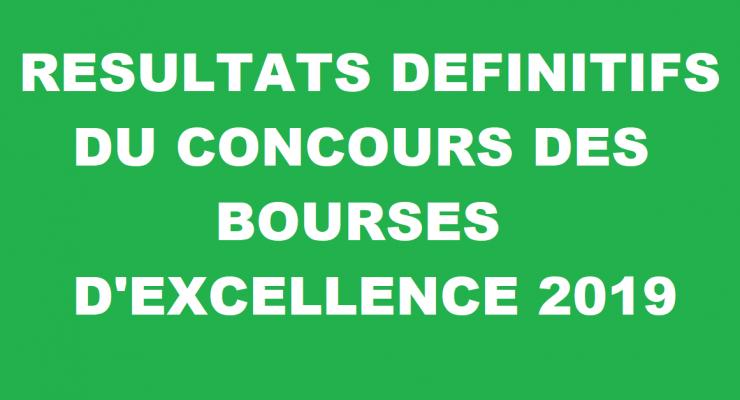 Résultats définitifs du concours des bourses d'Excellence 2019-2020